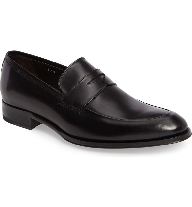 TO BOOT NEW YORK Francis Penny Loafer, Main, color, BLACK LEATHER