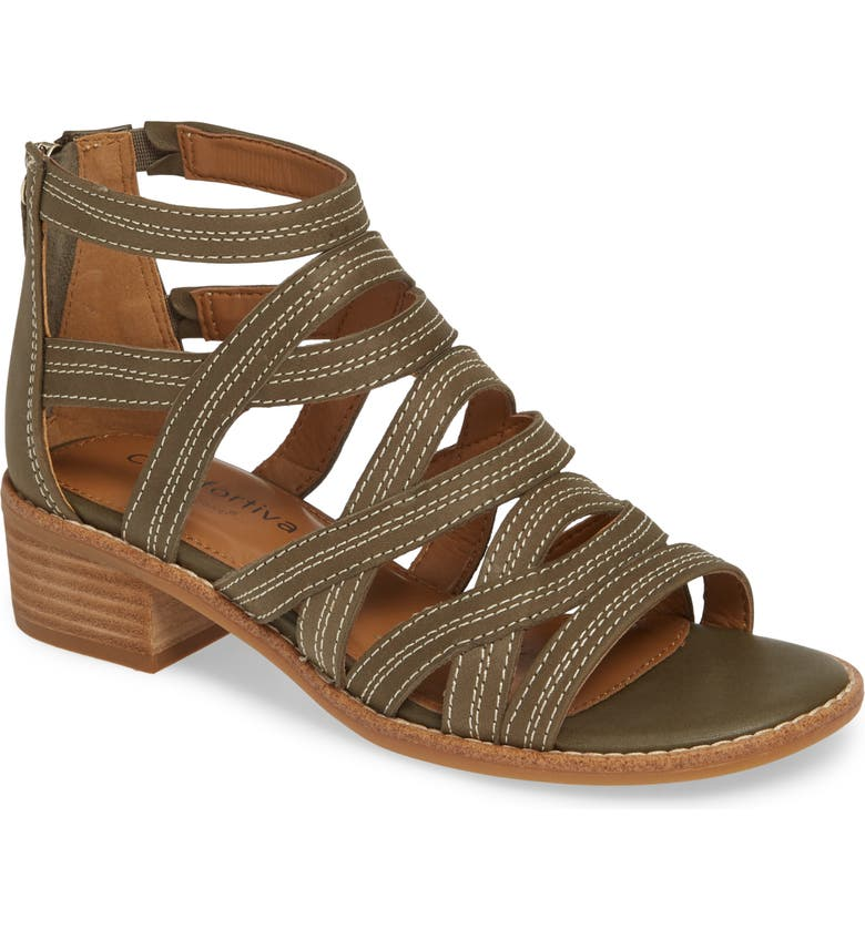 COMFORTIVA Betha Sandal, Main, color, PALE OLIVE LEATHER