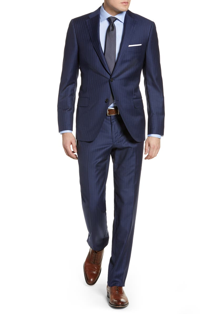 HICKEY FREEMAN Classic B Fit Stripe Wool Suit, Main, color, NAVY