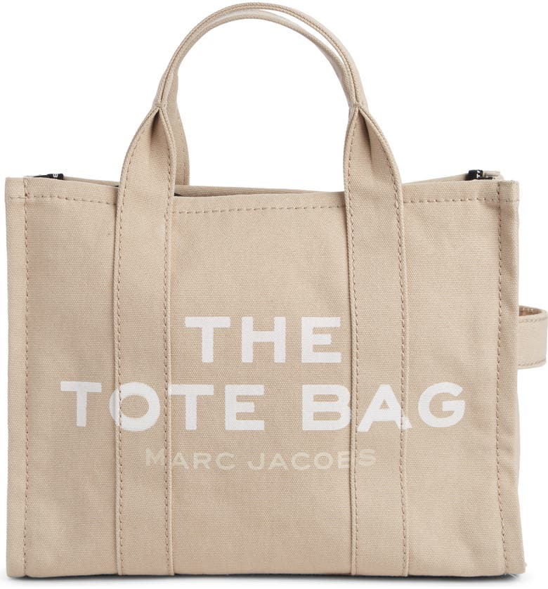 THE MARC JACOBS Small Traveler Canvas Tote, Main, color, BEIGE