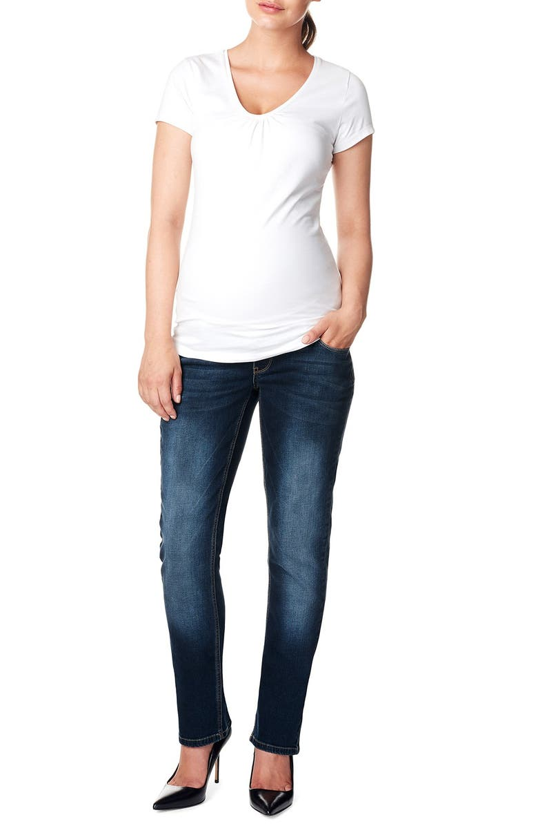 NOPPIES 'Mena Comfort' Over the Belly Straight Leg Maternity Jeans, Main, color, 401