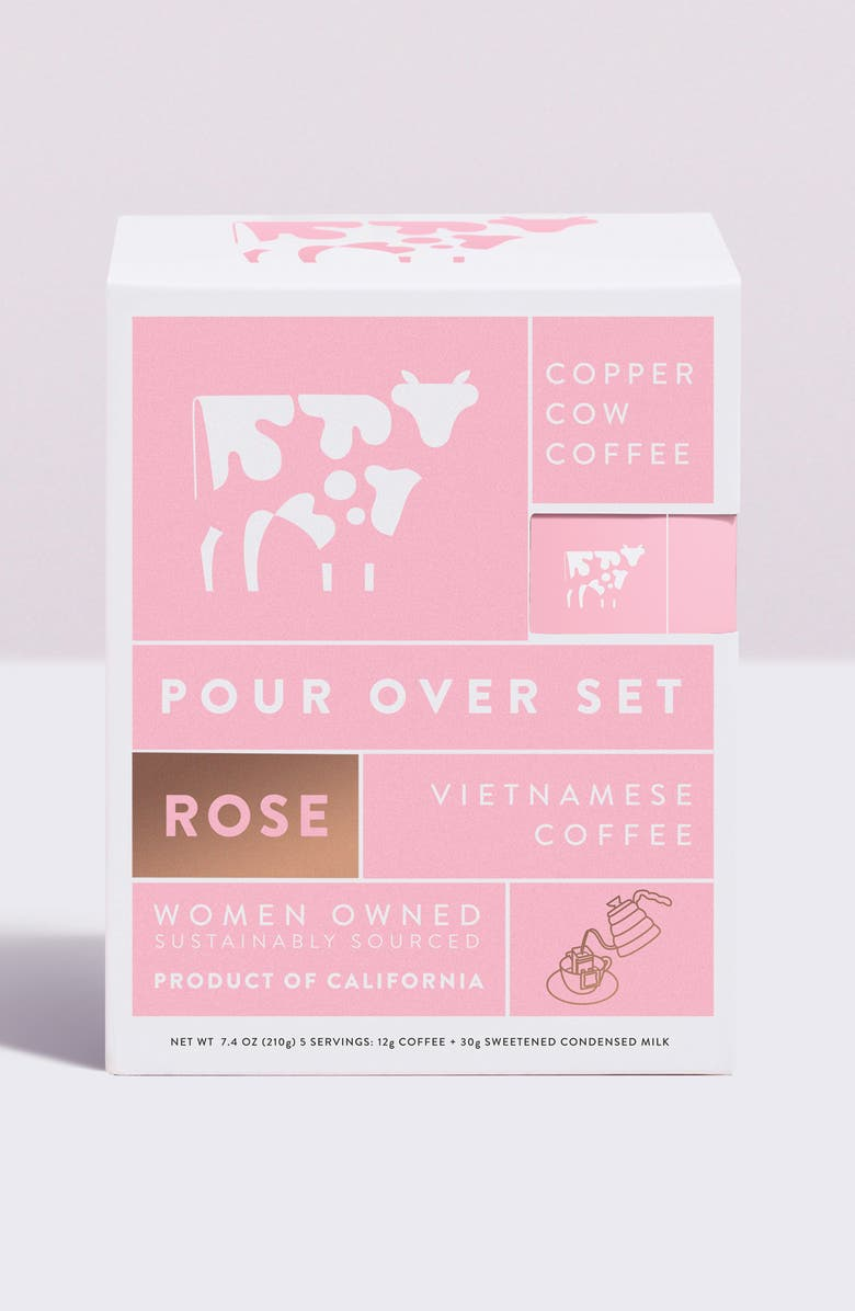 COPPER COW COFFEE Vietnamese Rose Latte 5-Pack Kit, Main, color, Pink