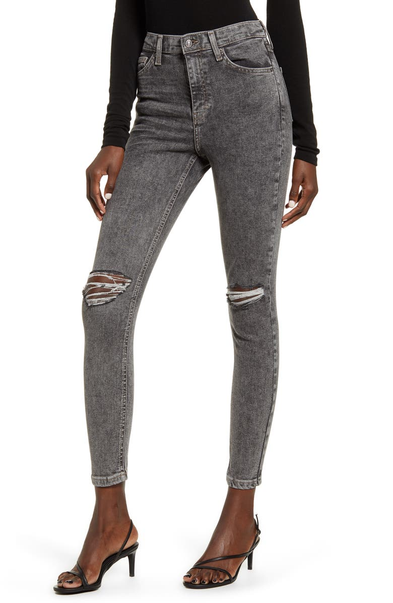 TOPSHOP Ripped Acid Wash Ankle Skinny Jeans, Main, color, 001