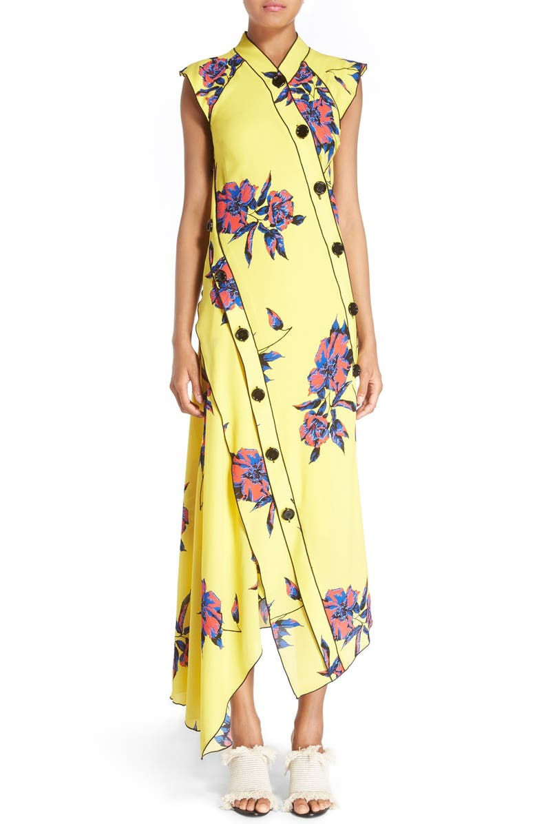 PROENZA SCHOULER Floral Print Silk Georgette Dress, Main, color, YELLOW/ BLUE LILLY PRINT