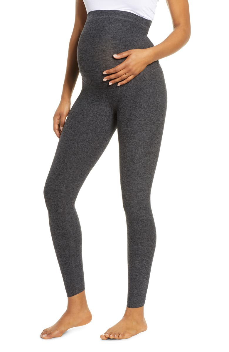 BEYOND YOGA Empire Waist Maternity Leggings, Main, color, BLACK-CHARCOAL