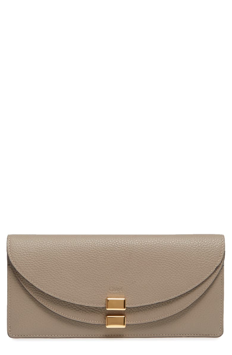 CHLOÉ Georgia Continental Leather Wallet, Main, color, MOTTY GREY