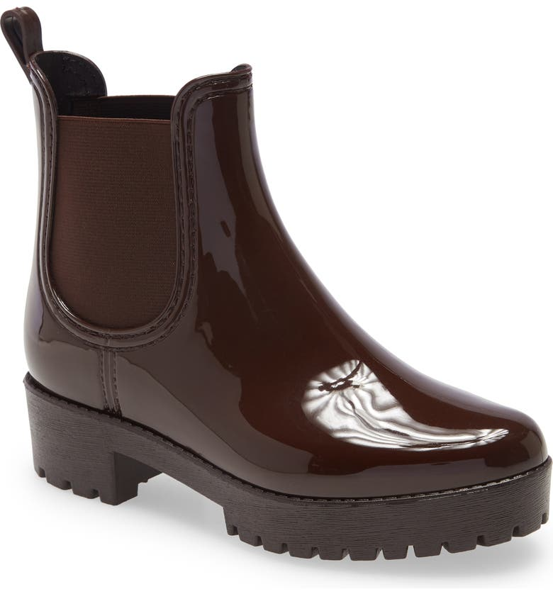 JEFFREY CAMPBELL Cloudy Waterproof Chelsea Rain Boot, Main, color, BROWN SHINY