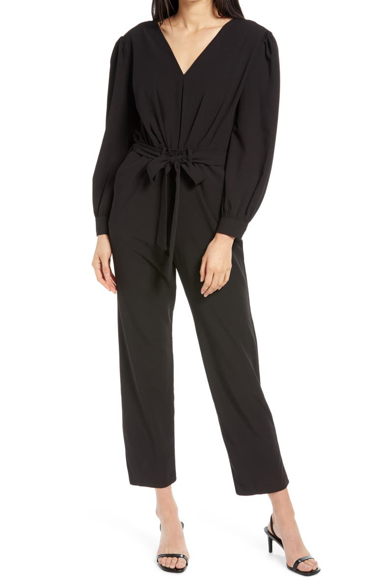 FRAICHE BY J Tie Front Jumpsuit, Main, color, 001