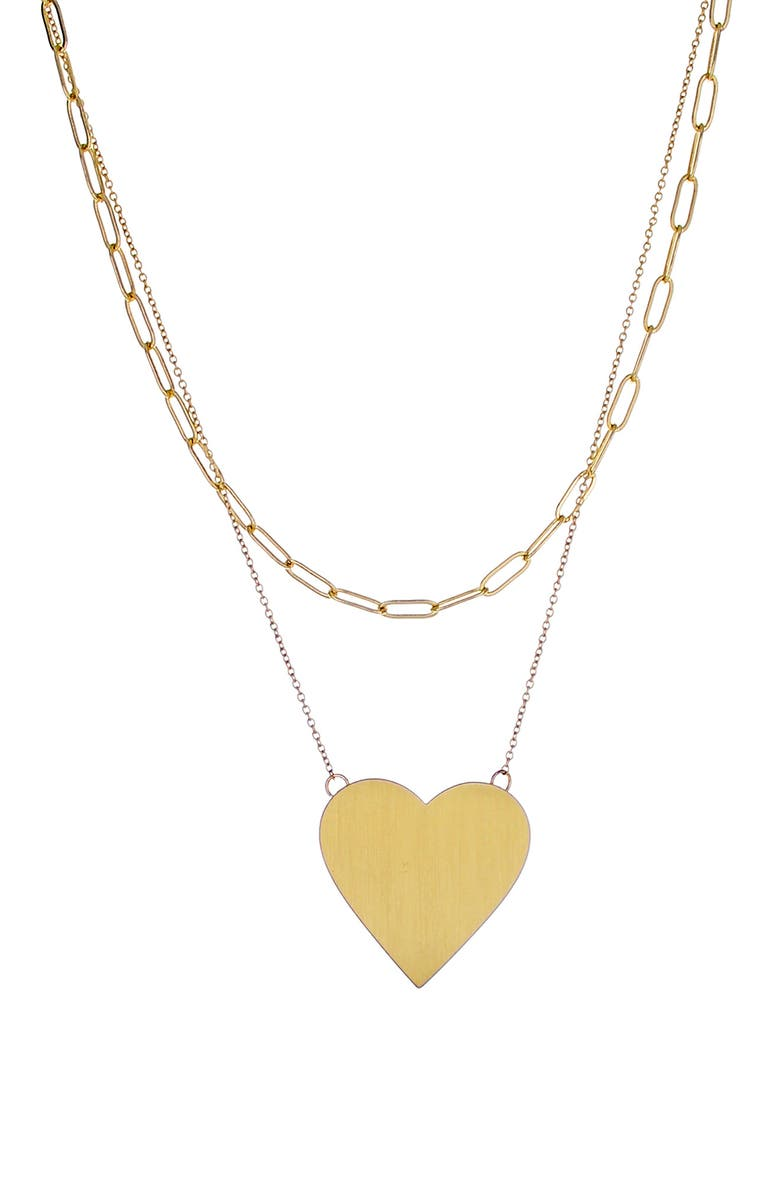 PANACEA Heart Layered Pendant Necklace, Main, color, GOLD