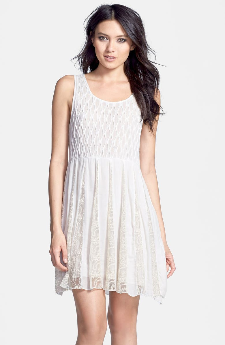 BLACK SWAN 'Sioaxsie' Lace Inset Textures Crepe Dress, Main, color, WHITE