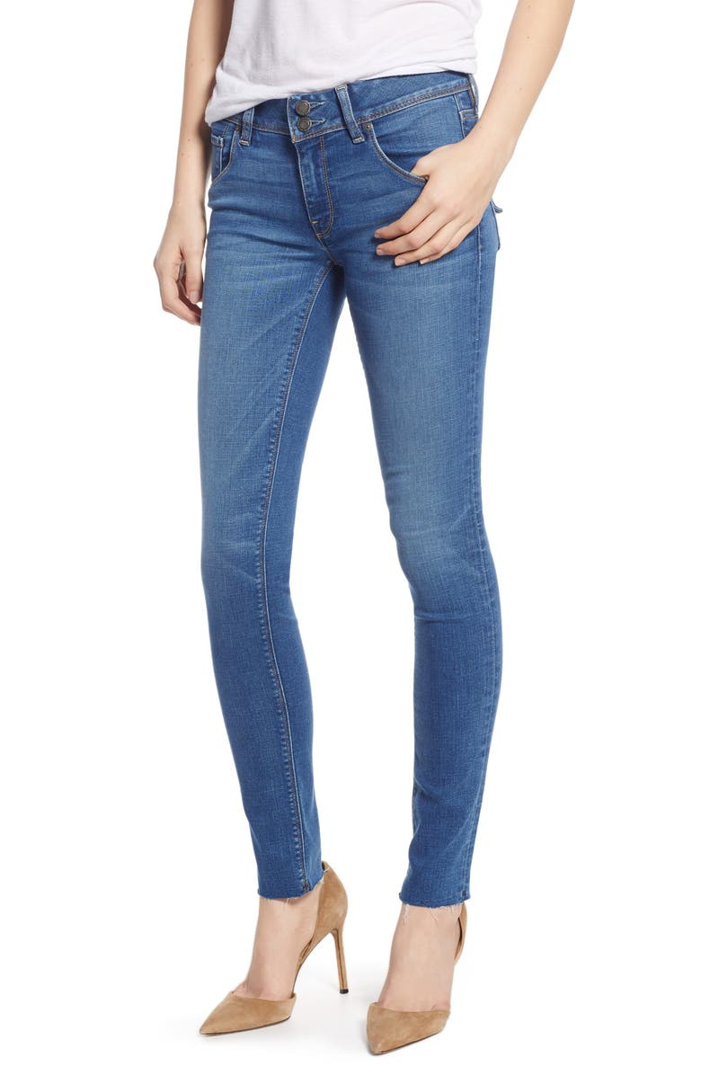 HUDSON JEANS Collin Mid Rise Raw Hem Ankle Skinny Jeans, Main, color, 420