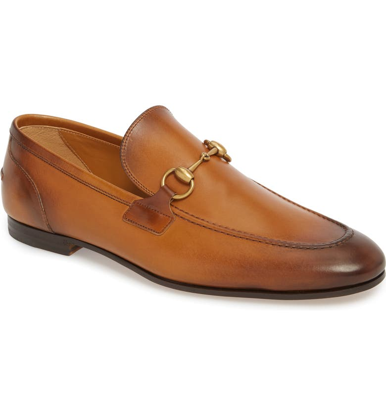 GUCCI Jordaan Horsebit Loafer, Main, color, BROWN