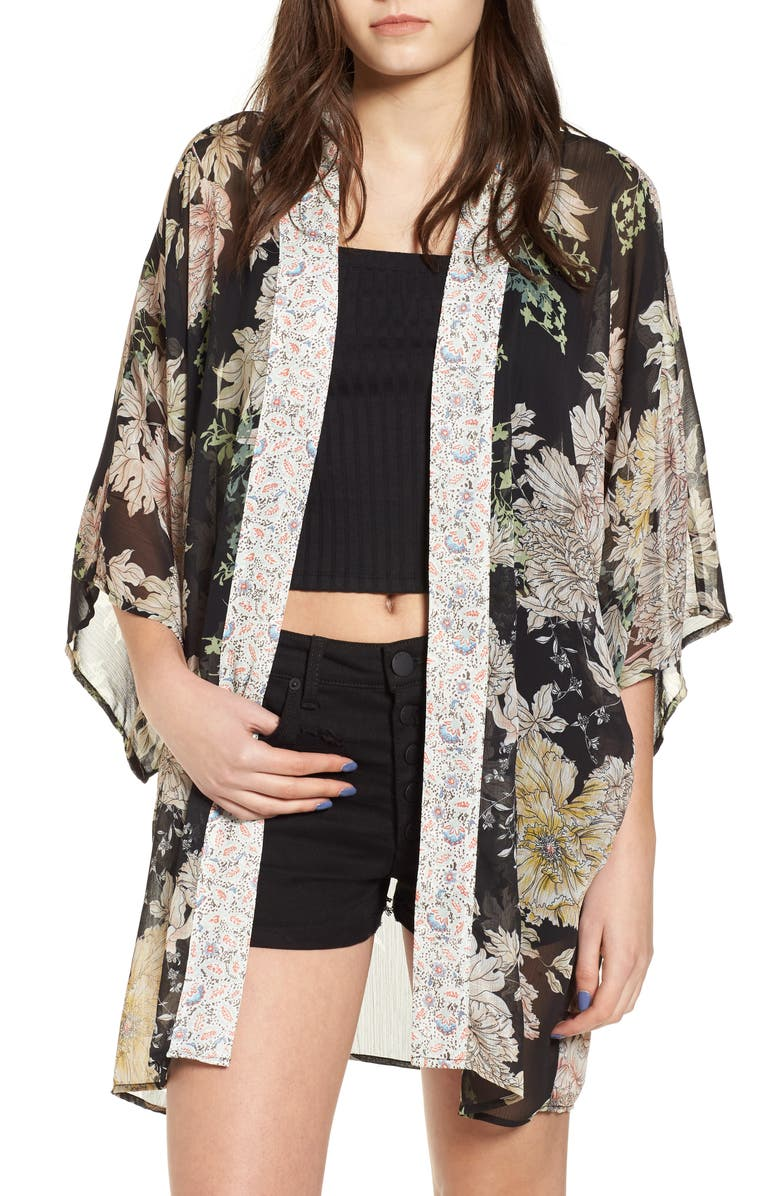 BAND OF GYPSIES Floral Print Kimono, Main, color, 001