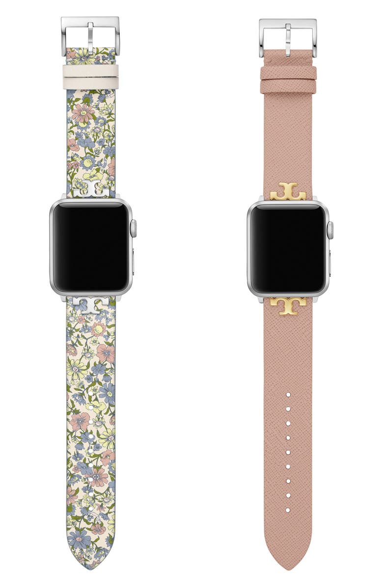 TORY BURCH Set of 2 Leather Apple Watch<sup>®</sup> Straps, Main, color, MULTI