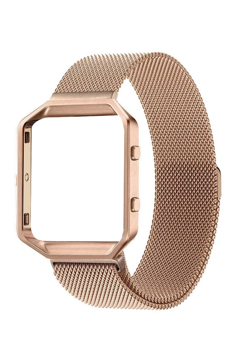 POSH TECH Large Stainless Steel Band with Frame for Fitbit Blaze - Rose Gold, Main, color, ROSE GOLD