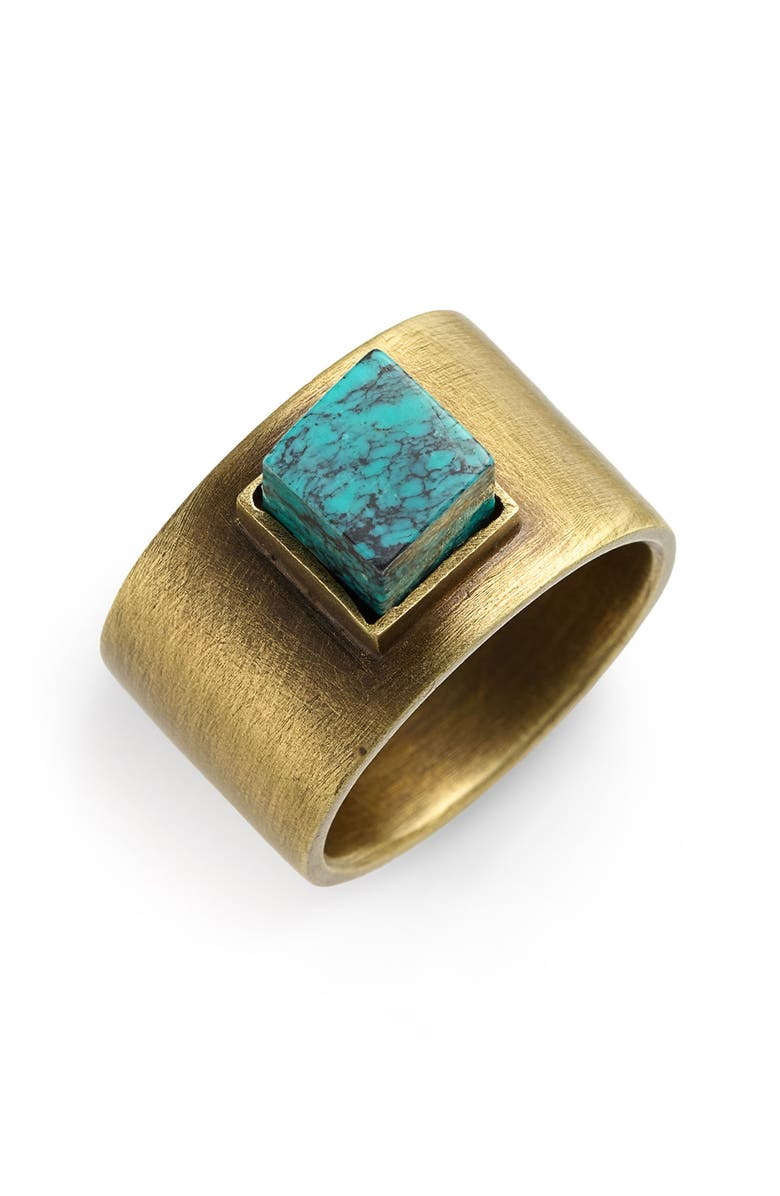 KELLY WEARSTLER Turquoise Stud Ring, Main, color, TURQUOISE/ BRASS