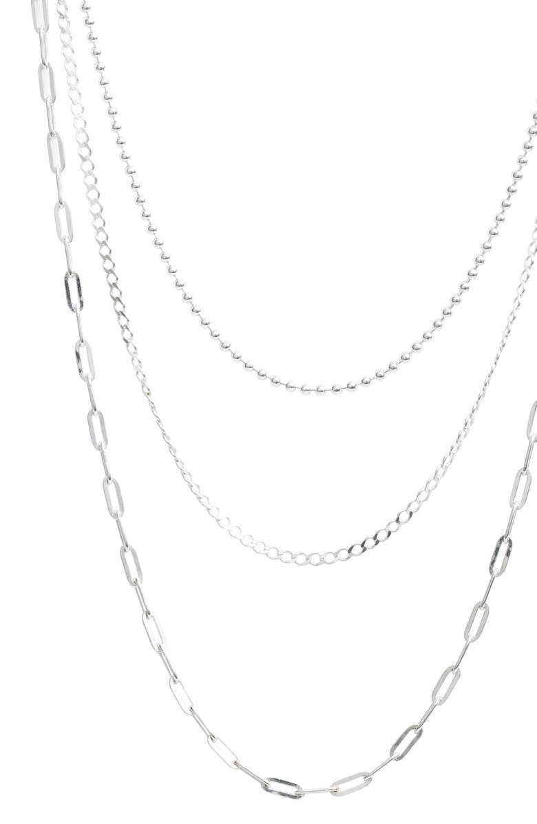 ARGENTO VIVO STERLING SILVER Three-Row Layered Chain Necklace, Main, color, Silver