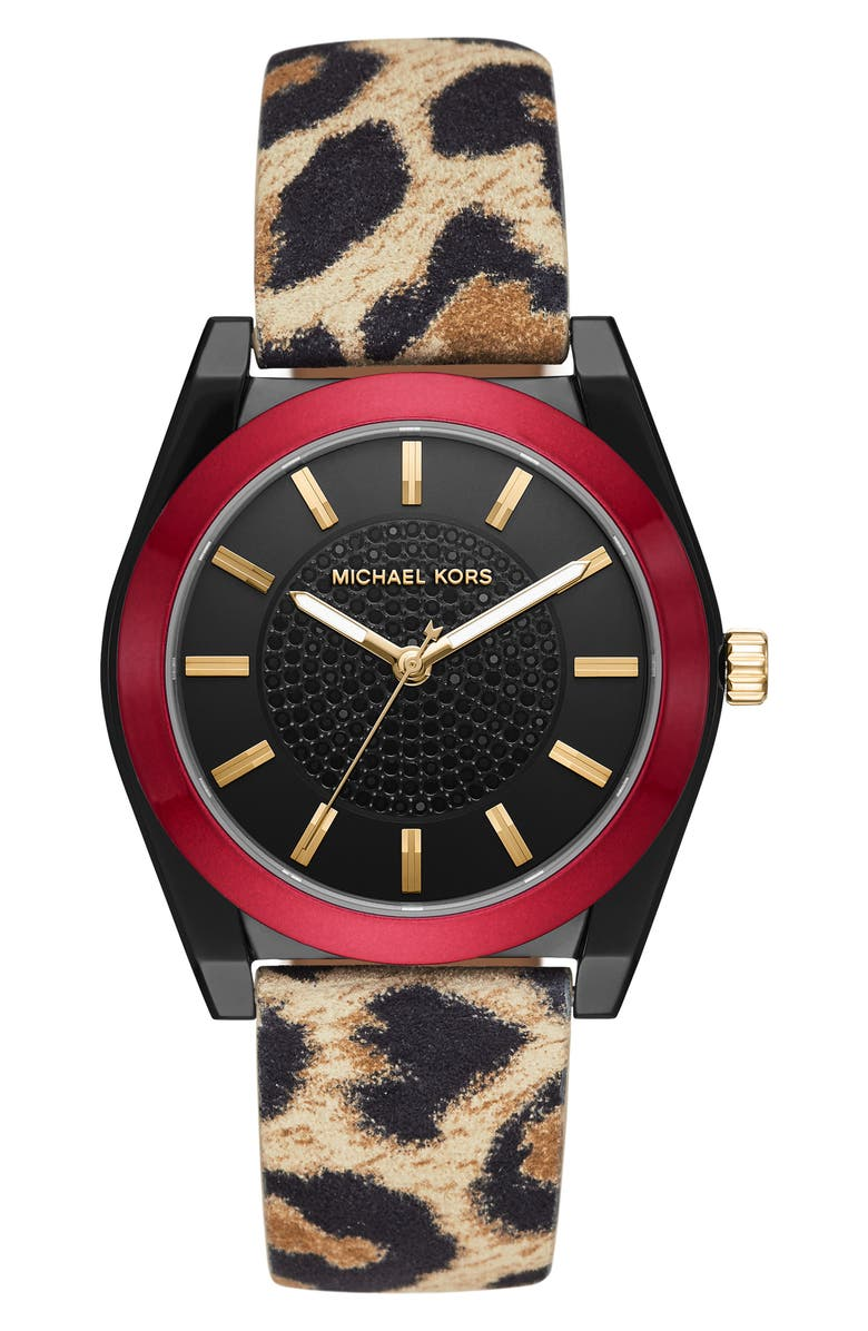 MICHAEL KORS Channing Leather Strap Watch, 40mm, Main, color, 200