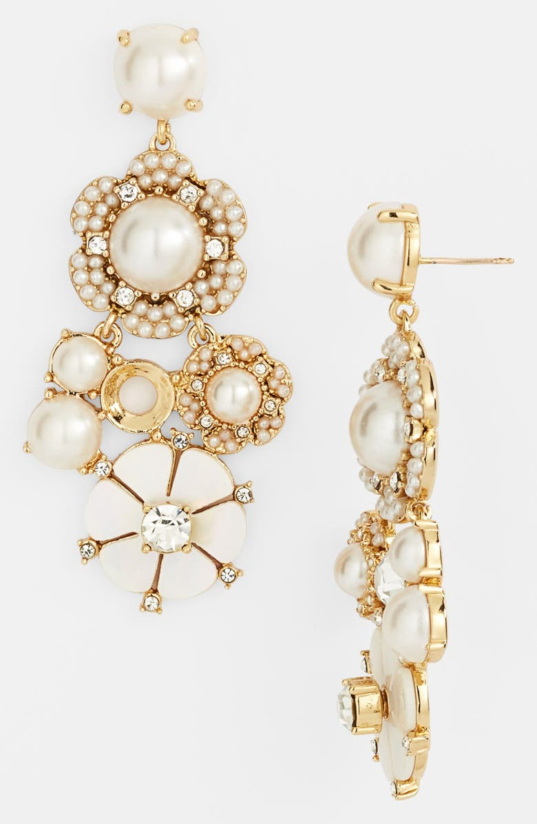 KATE SPADE NEW YORK 'park floral' chandelier earrings, Main, color, CREAM/ CLEAR/ GOLD