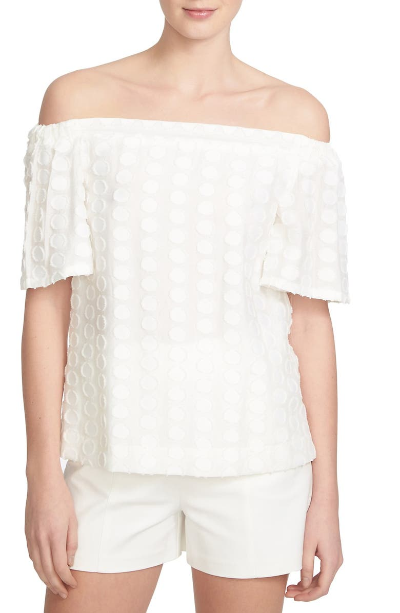 1.STATE Textured Dot Off the Shoulder Top, Main, color, 909