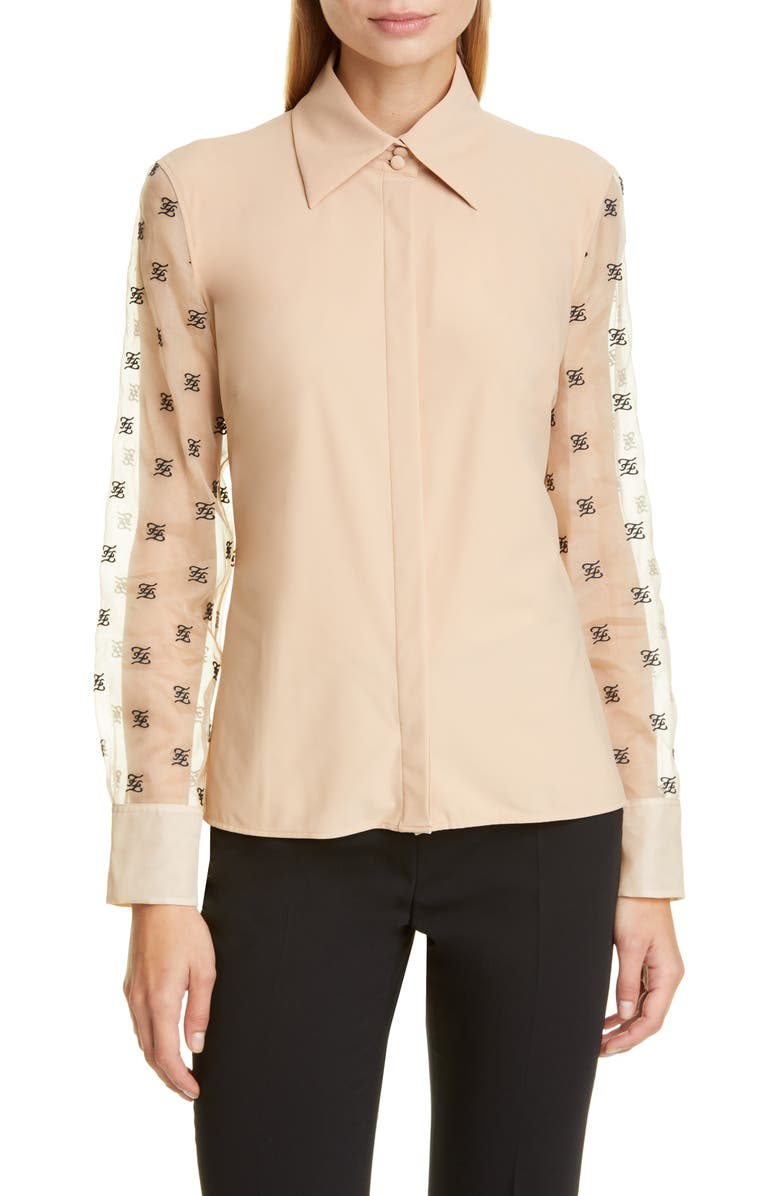 FENDI FF Karligraphy Embroidered Organza Sleeve Blouse, Main, color, BEIGE