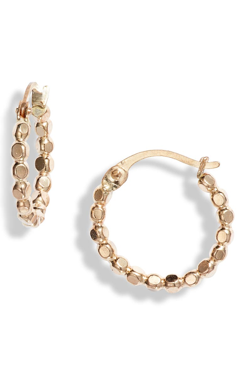 NASHELLE Muse Dotted 14K-Gold Fill Small Hoop Earrings, Main, color, Gold