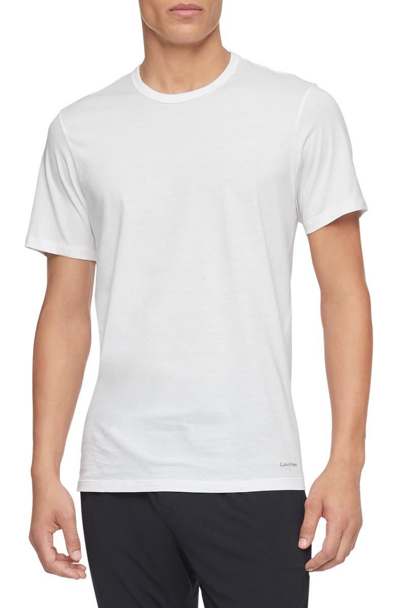 CALVIN KLEIN 3-Pack Slim Fit Cotton Crewneck T-Shirt, Main, color, WHITE