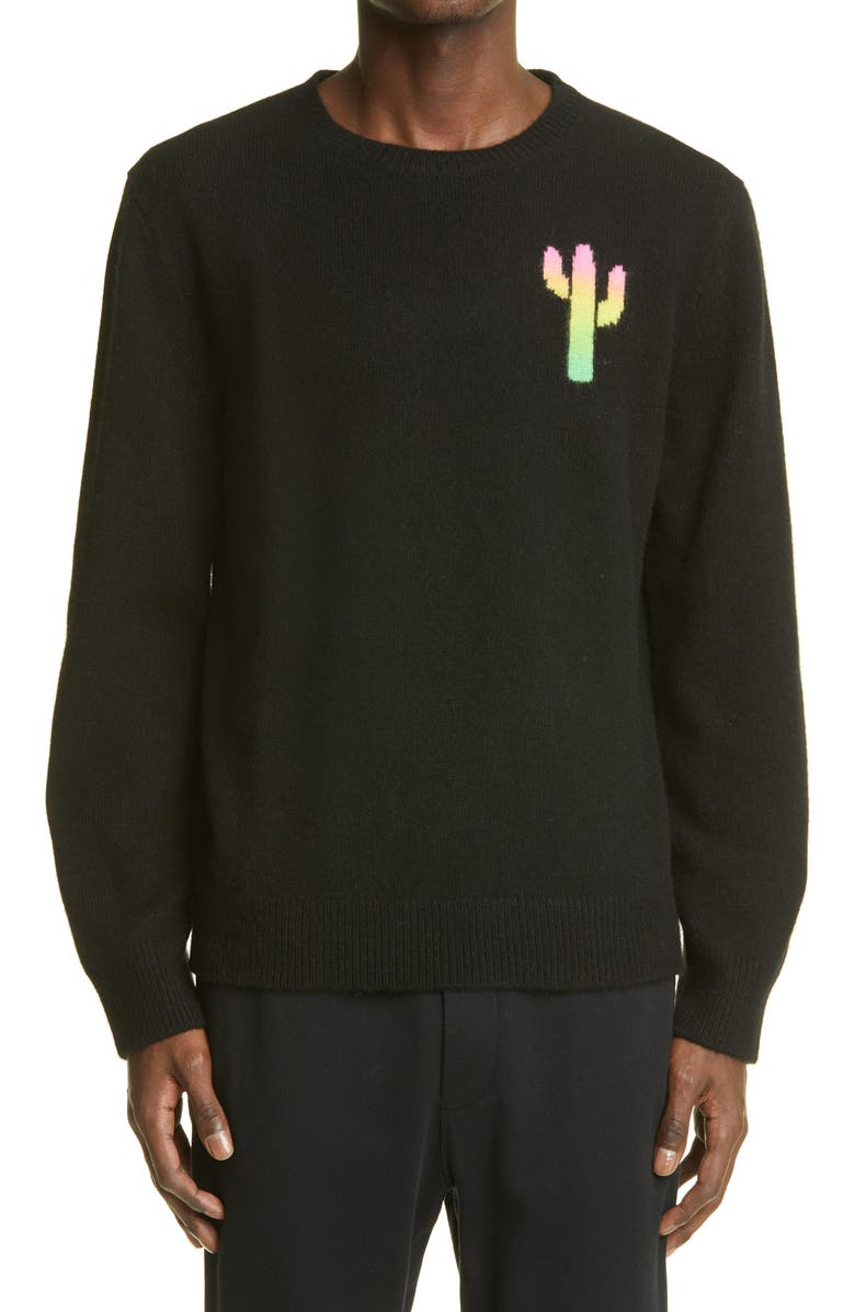 THE ELDER STATESMAN Men's Cactus Universe Hand Painted Cashmere Sweater, Main, color, BLACK/ IVORY W/ RAINBOW