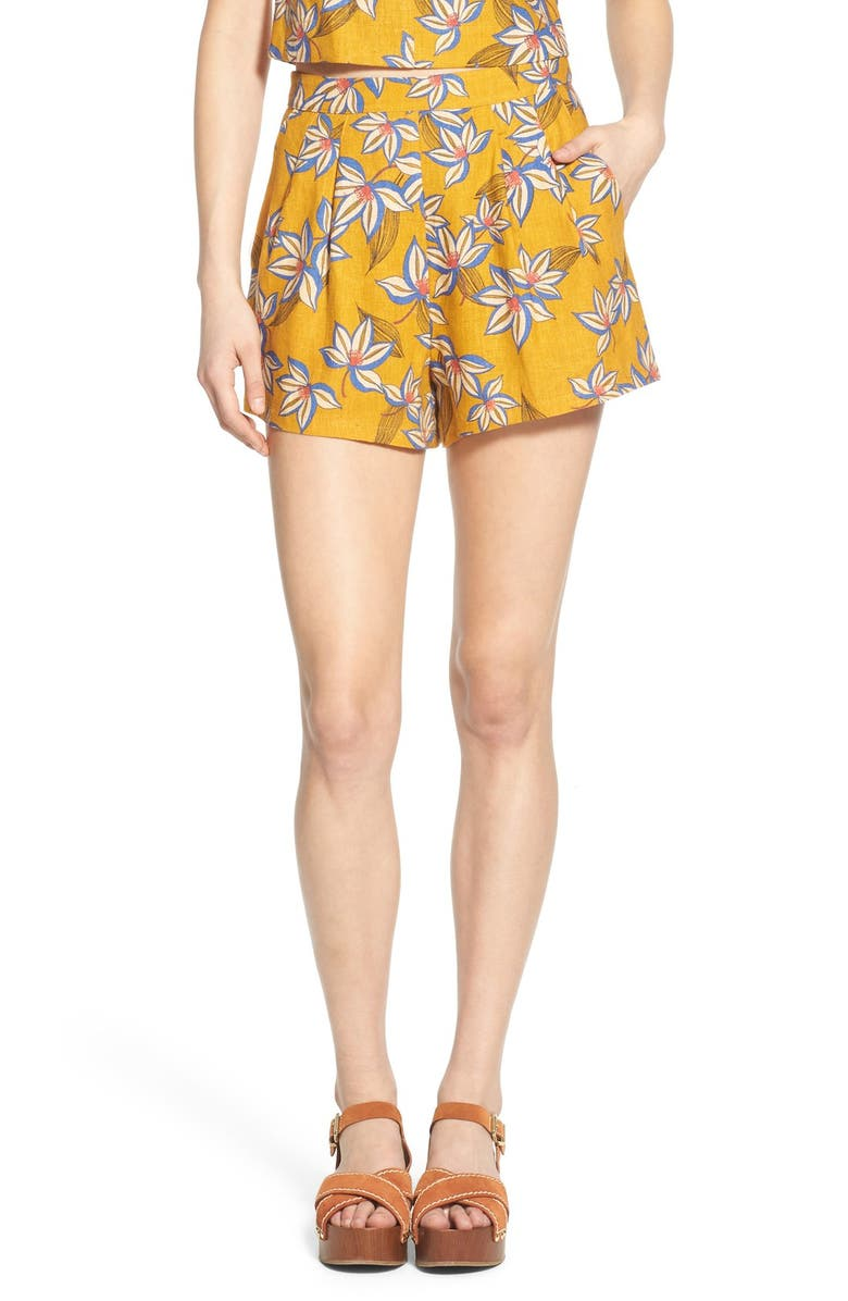 ALL IN FAVOR Print Pleated Shorts, Main, color, 701