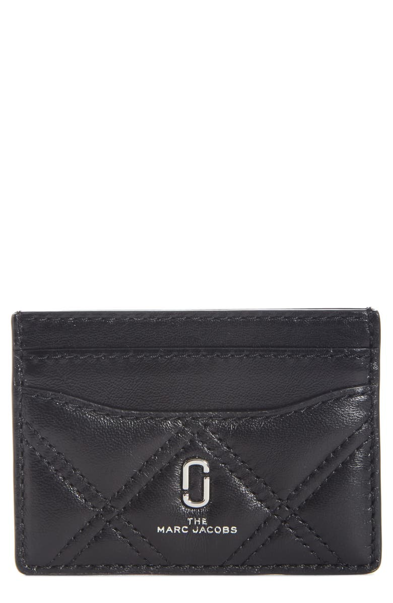 THE MARC JACOBS Quilted Leather Card Case, Main, color, 001