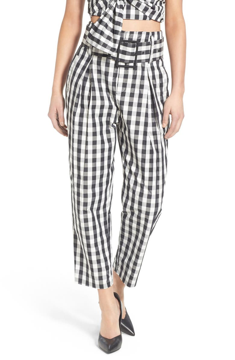 KENDALL + KYLIE Gingham High Rise Crop Pants, Main, color, GINGHAM