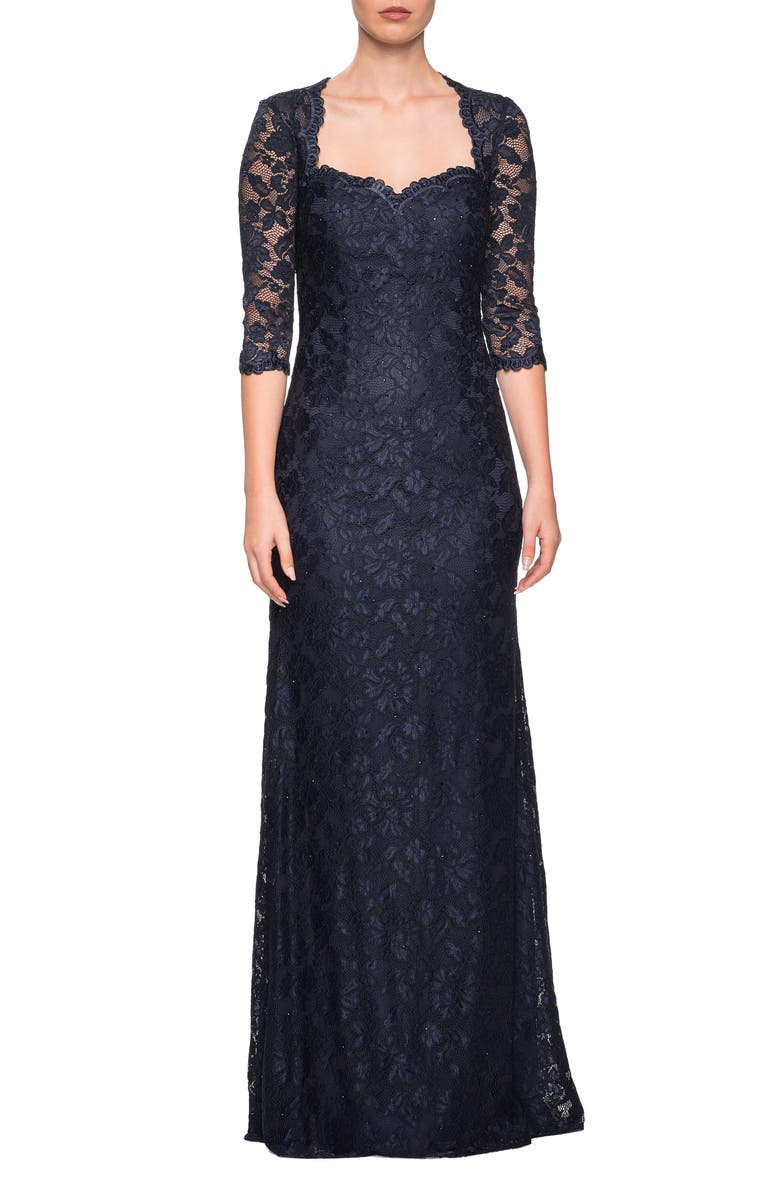 LA FEMME Lace Trumpet Gown, Main, color, NAVY