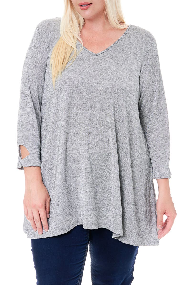 SINGLE THREAD Tie Back Detail Hacci Tunic Top, Main, color, GREY