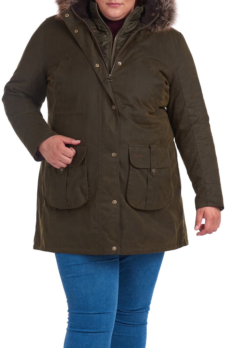 BARBOUR Homeswood Waxed Cotton Hooded Raincoat with Faux Fur Trim, Main, color, OLIVE/ CLASSIC