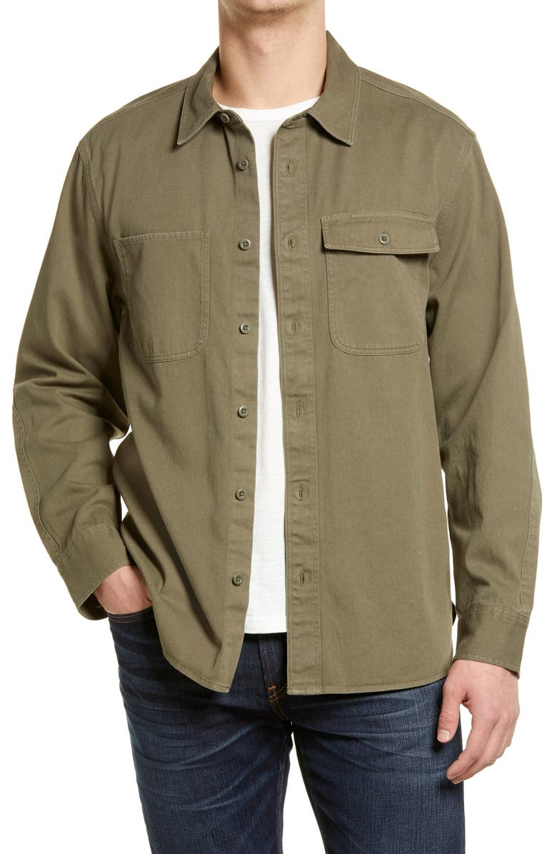 MADEWELL Garment Dyed Work Shirt, Main, color, PRESSED SAGE