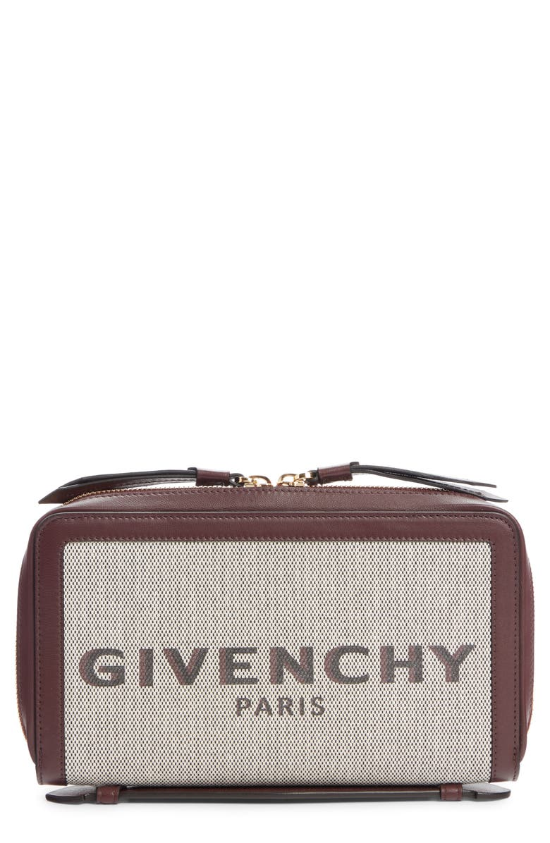 GIVENCHY Bond Canvas & Leather Travel Wallet, Main, color, AUBERGINE