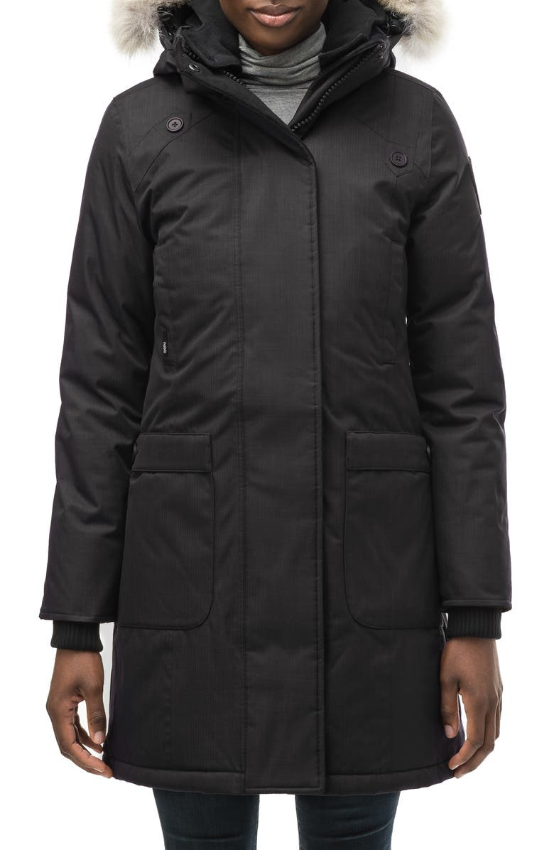 NOBIS Meredith Hooded Down Parka with Genuine Coyote Fur Trim, Main, color, BLACK