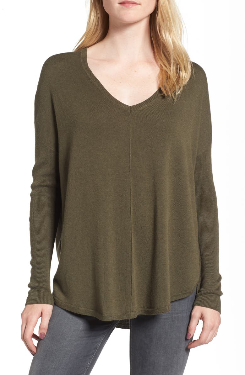 CHELSEA28 Everyday V-Neck Sweater, Main, color, OLIVE SARMA