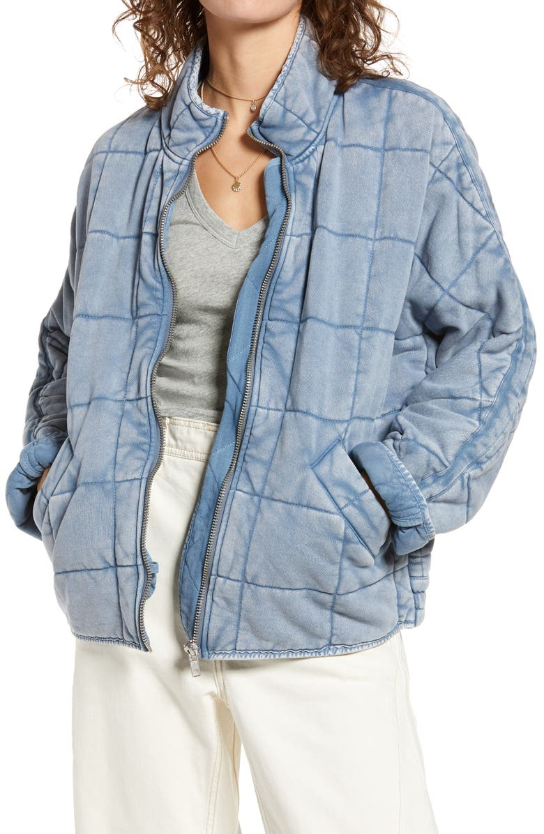 FREE PEOPLE Dolman Sleeve Quilted Jacket, Main, color, WAVY WATERS