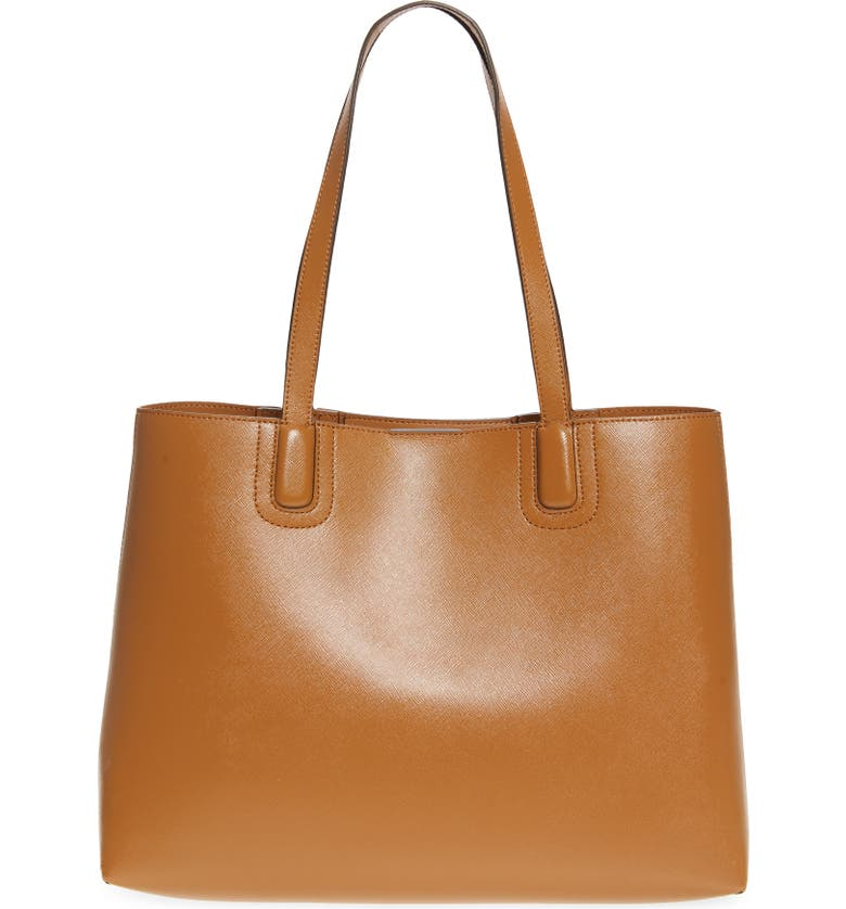 NORDSTROM Beacon Leather Tote, Main, color, TAN TAFFY