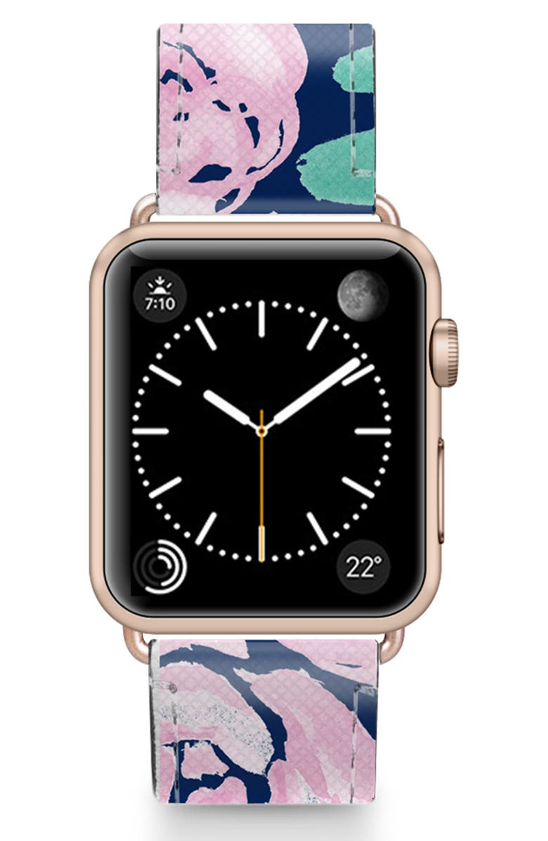CASETIFY Pink Peonies Saffiano Faux Leather Apple Watch<sup>®</sup> Strap, Main, color, PINK/ ROSE GOLD