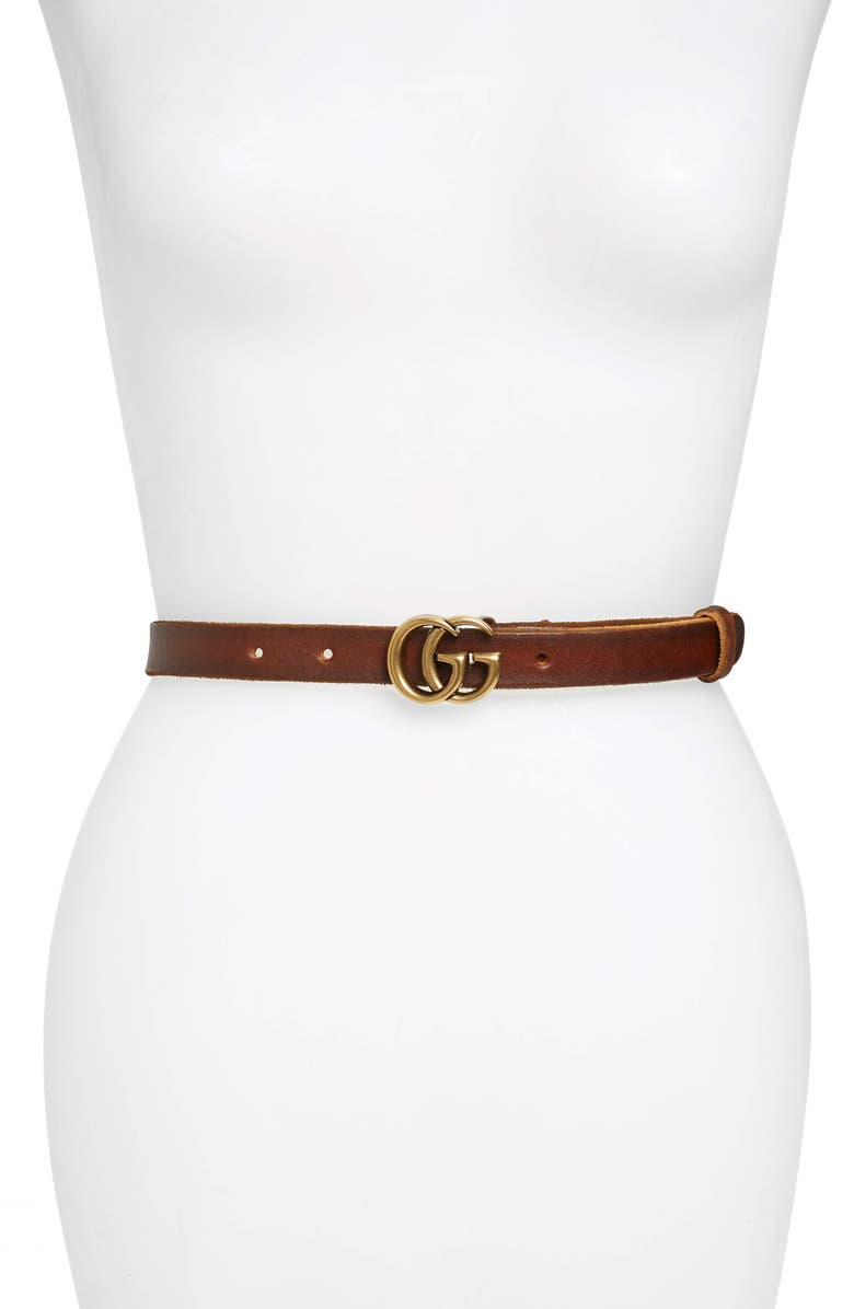 GUCCI GG Leather Belt, Main, color, CUIR