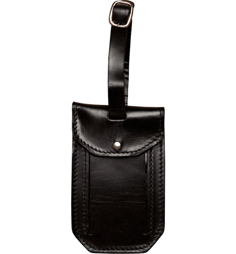 MOORE & GILES Leather Luggage Tag, Main, color, BROMPTON BLACK