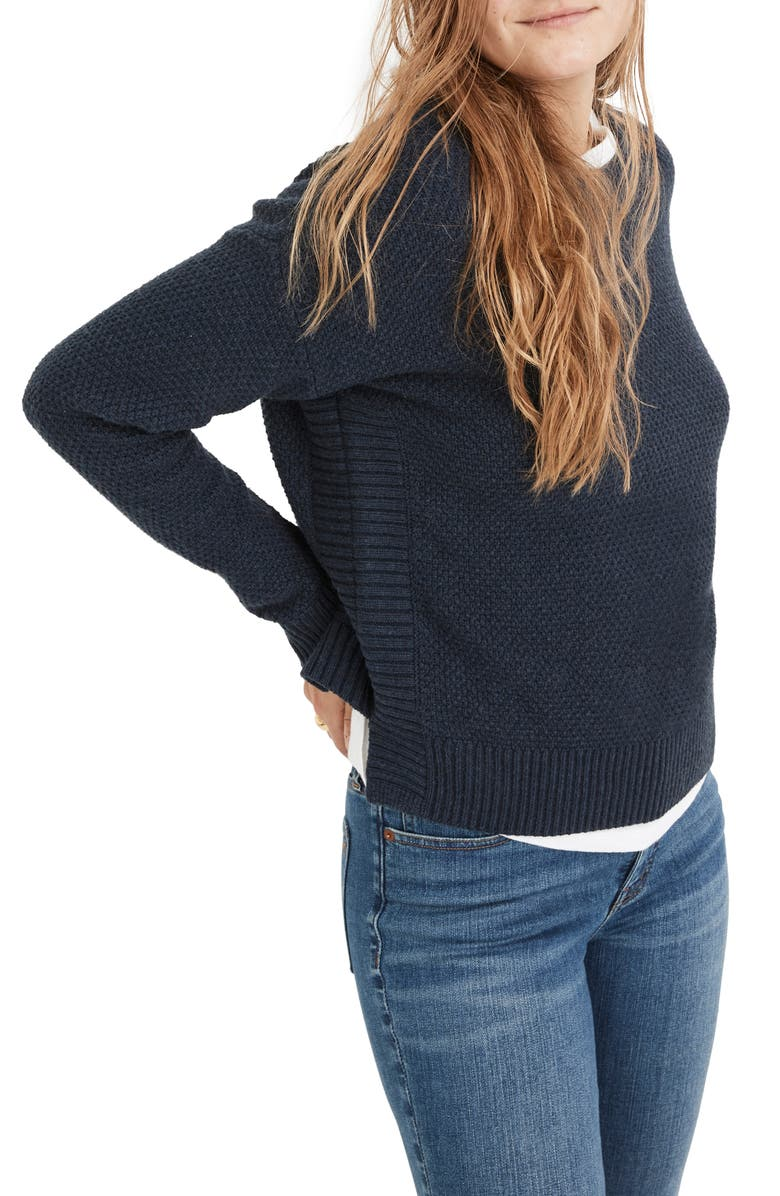 MADEWELL Pickford Pullover Sweater, Main, color, HTHR NAVY