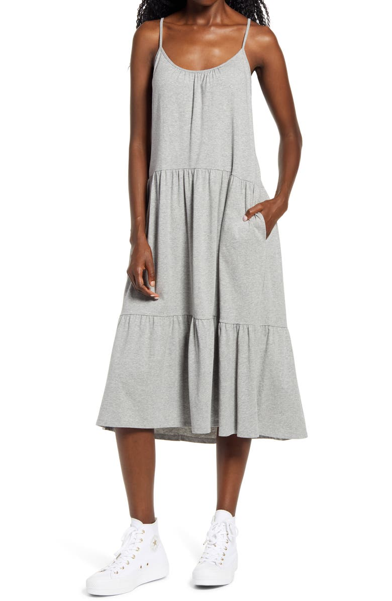 ALL IN FAVOR Tiered Jersey Dress, Main, color, 035