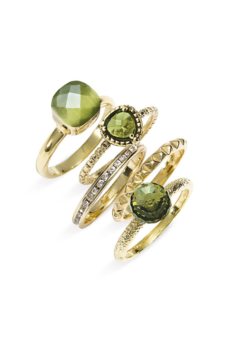 ARIELLA COLLECTION Multi Stone Stackable Rings, Main, color, GREEN MLTI/GLD