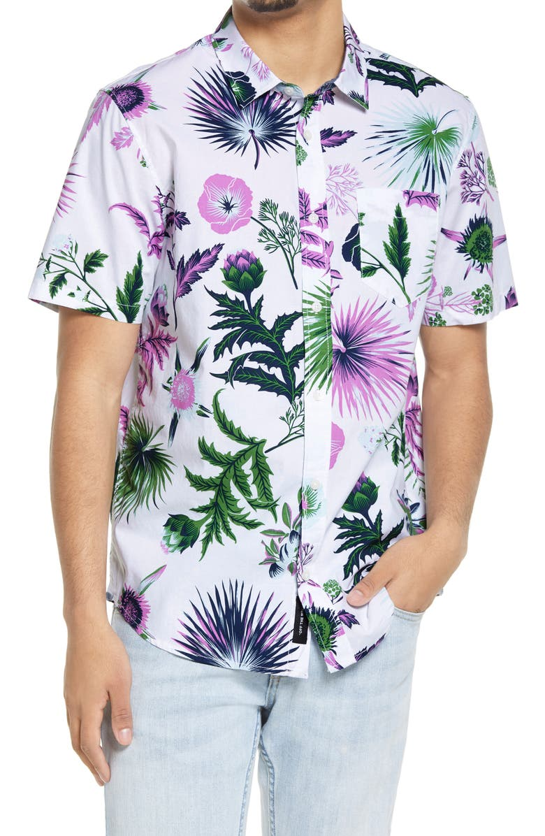 VANS Califas Floral Short Sleeve Button-Up Shirt, Main, color, CALIFAS-WHITE