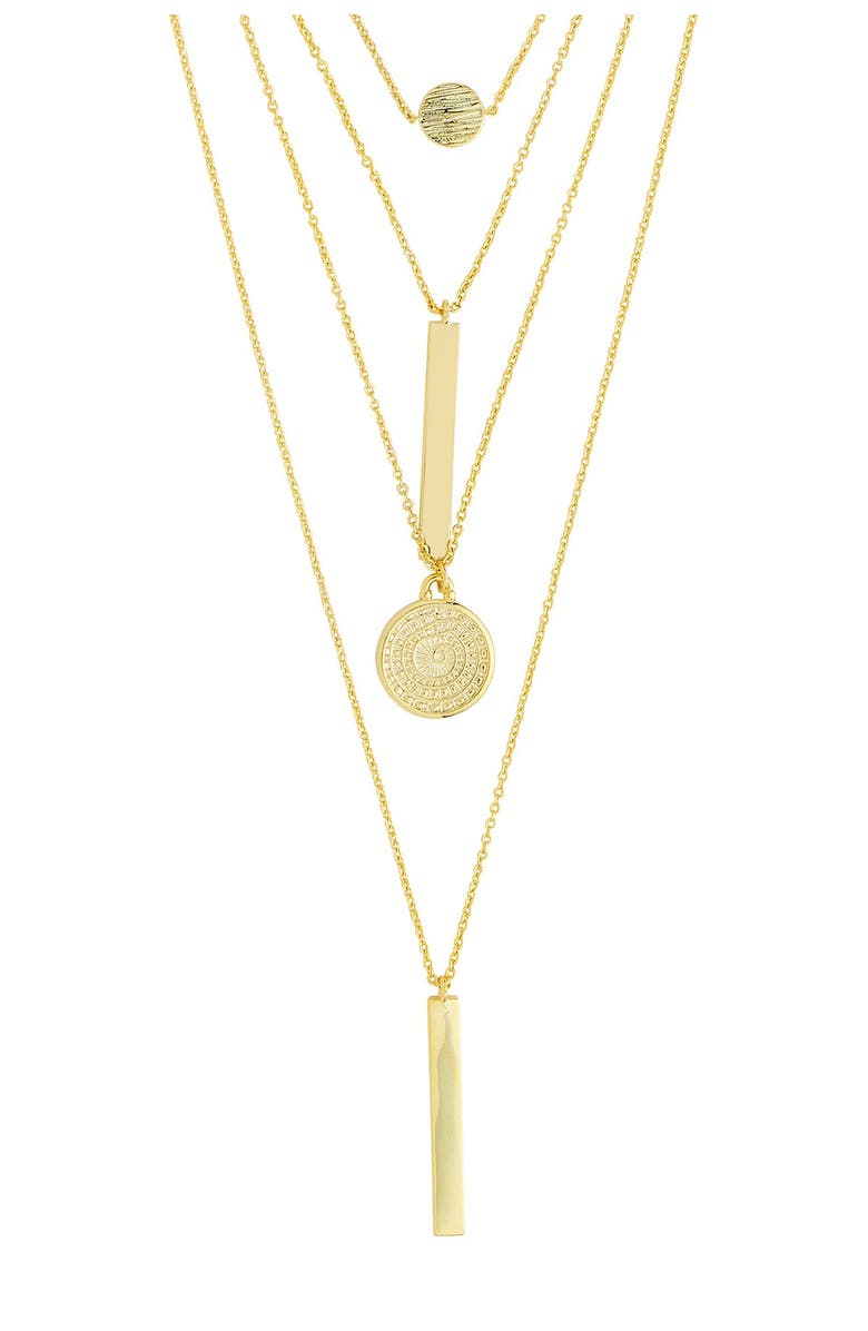 STERLING FOREVER 14K Gold Plated Mixed Pendant Layered Multi Strand Necklace, Main, color, GOLD