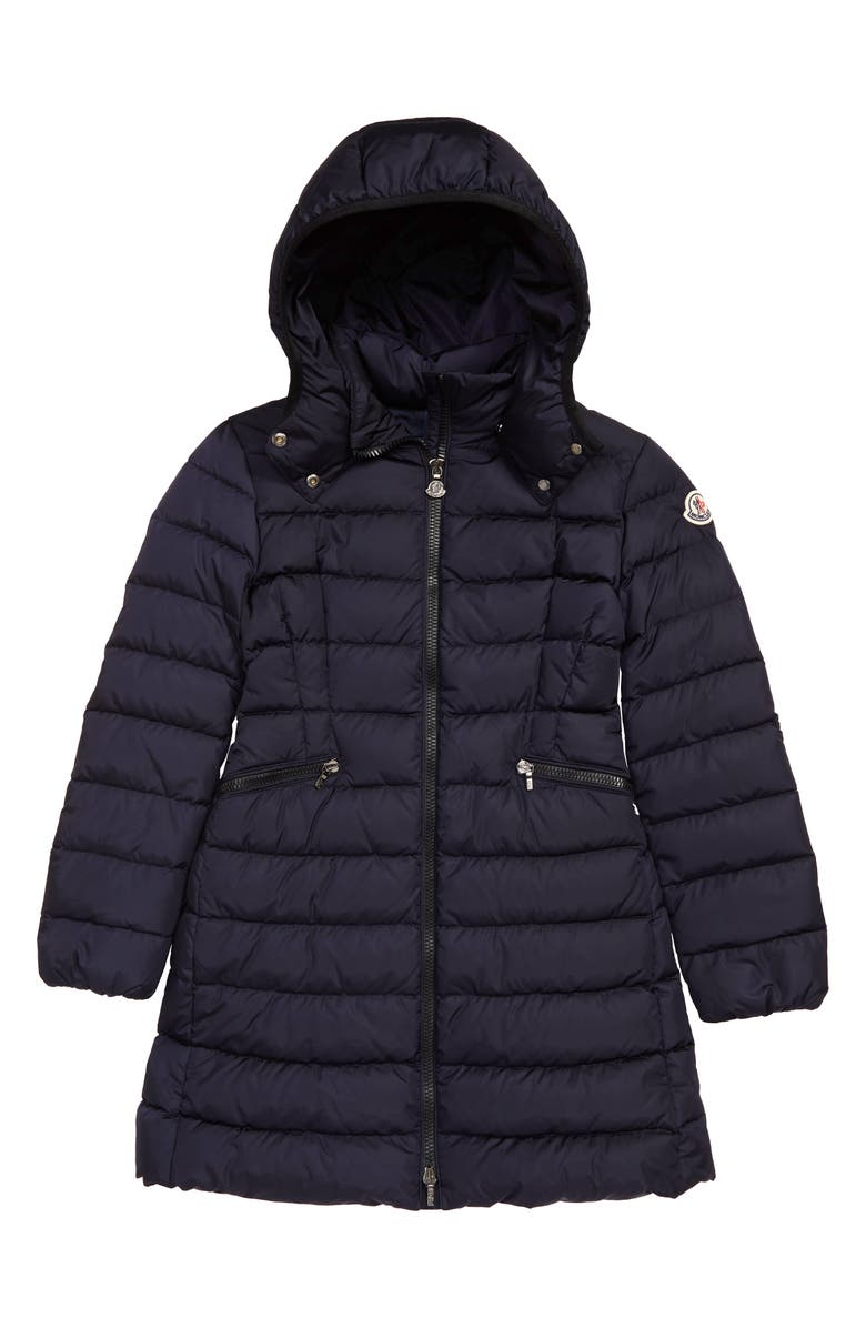 MONCLER Charpal Water Resistant Down Hooded Puffer Coat, Main, color, NAVY