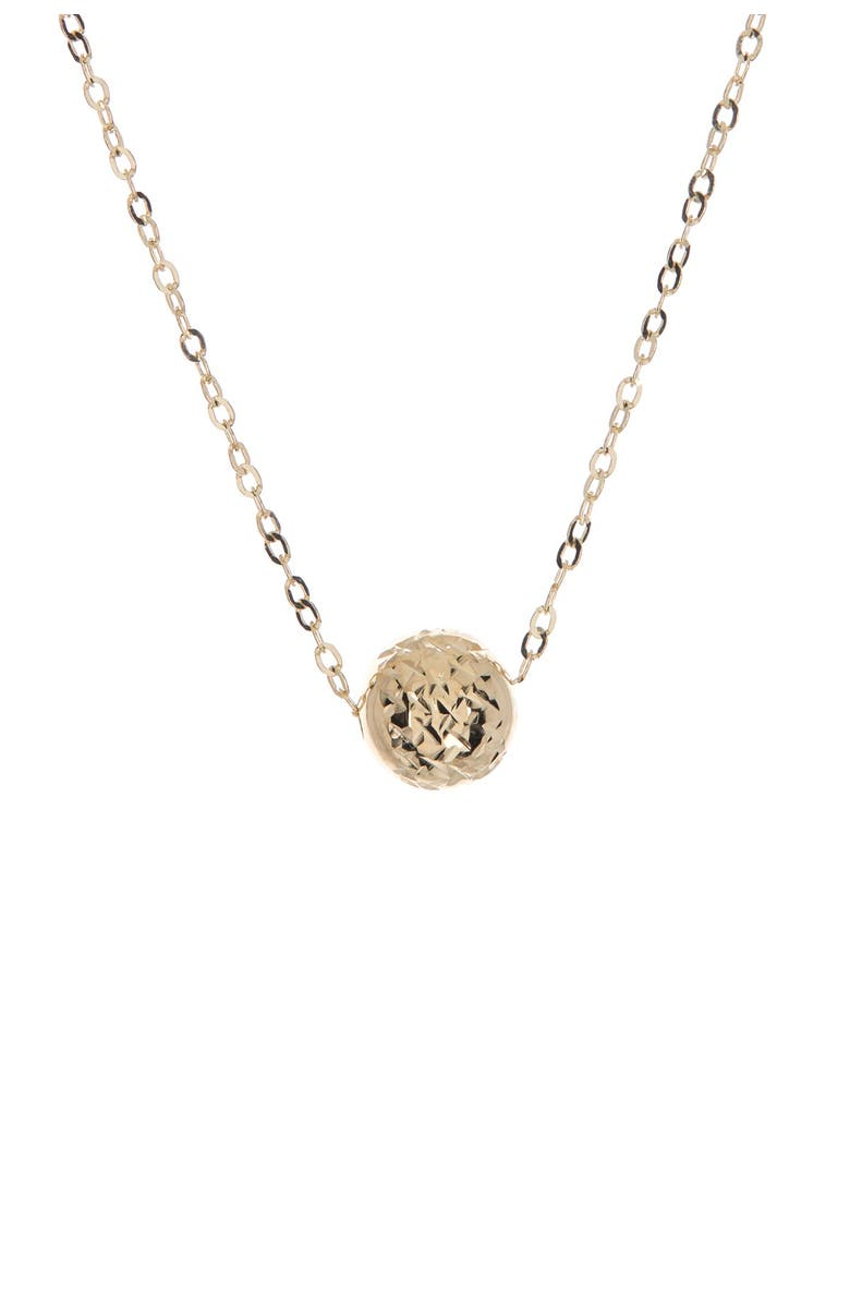 CANDELA JEWELRY 14K Yellow Gold Diamond Cut Ball Charm Necklace, Main, color, GOLD